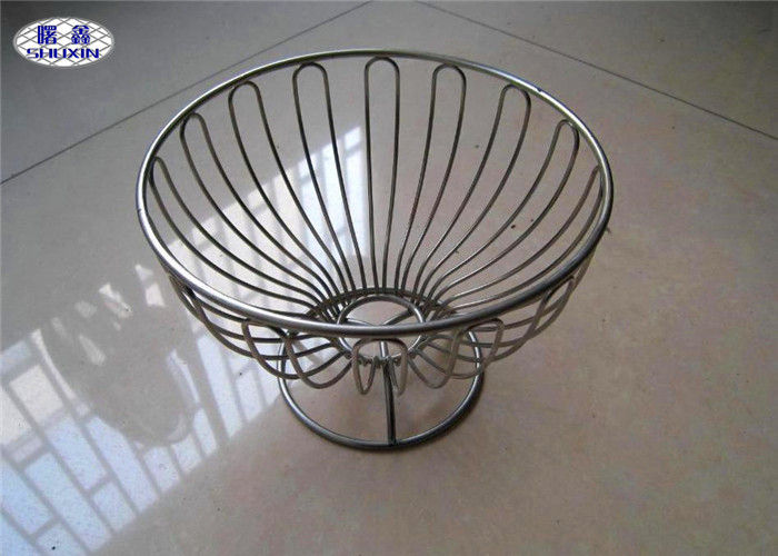 Welded Kitchen Wire Mesh Fruit Bowl Customized Shape FDA Certificated